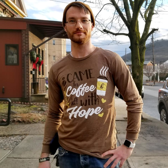 Hope And Coffee – Long Sleeve Brown Tee